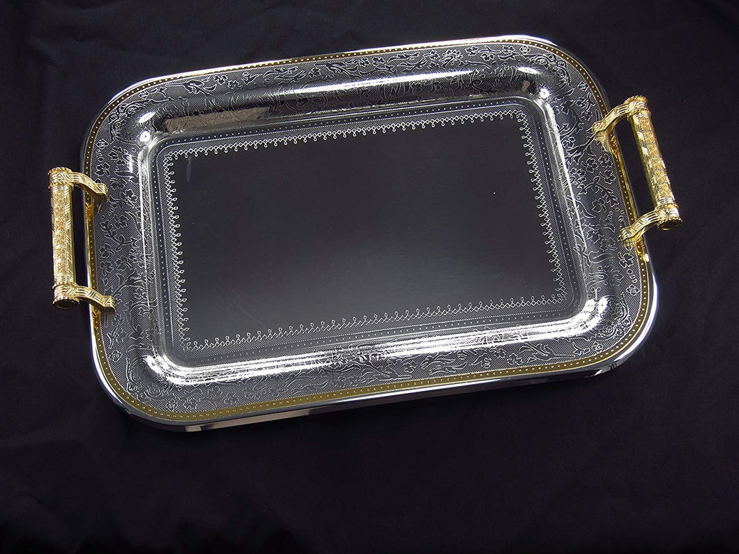 Denizli Serveware JS Silver Art Collection Single Stainless Steel Tray SS930-414