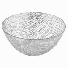 "(D) Handcrafted Glass Serving Bowl 8.75"" with Metallic Silver Line Pattern"
