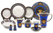 Royalty Porcelain Vintage 49-pc Dinnerware Set 'Blue Medusa', Premium Bone China