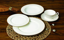Royalty Porcelain Innocence 20pc White and Gold Dinnerware Set, 24K Gold-Plated