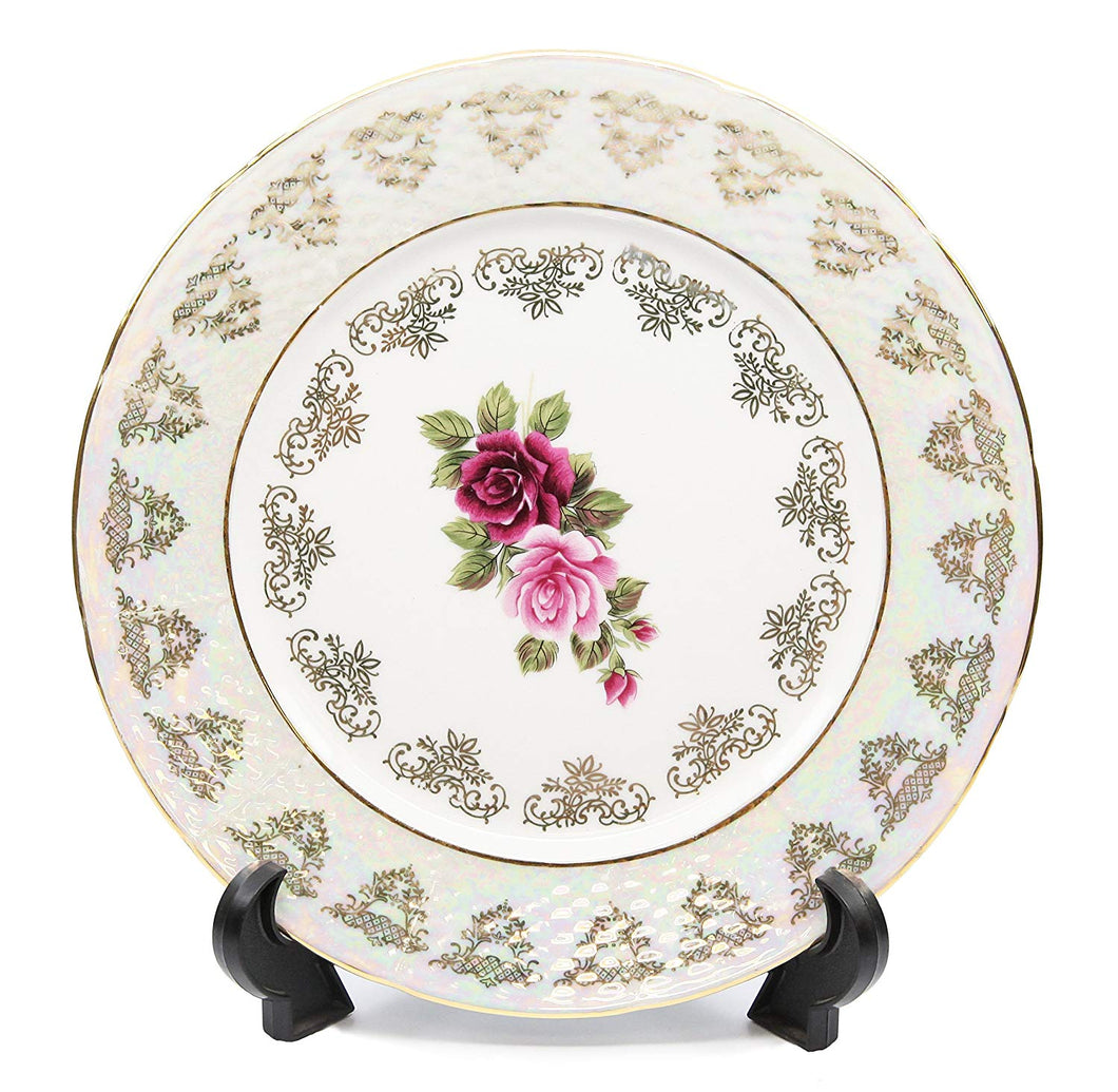 Royalty Porcelain Set of 6 Dessert Plates 7.5, Floral Pattern, Bone China