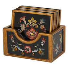 "(D) Set of 7 ""Gemstone Black"" Coasters, Premium Quality Wooden Frame"