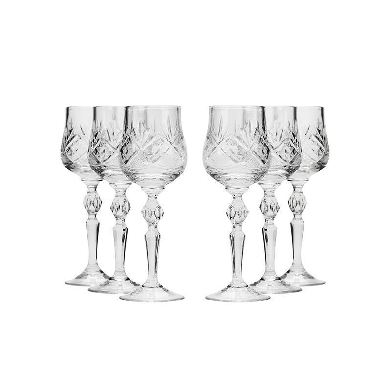 Neman Glassworks, 8-Oz Russian Crystal Wine Goblet Glasses, 6-pc Vintage Set