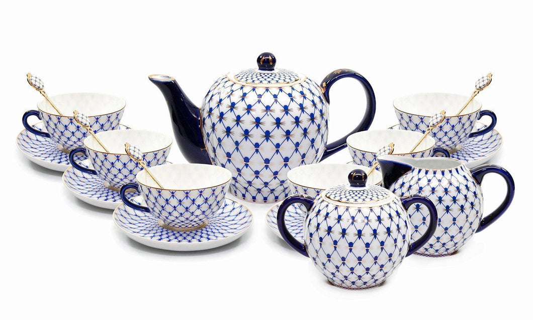 Lomonosov 15-pc Dining Tea Cup Set, Russian Saint Petersburg Cobalt Blue Net