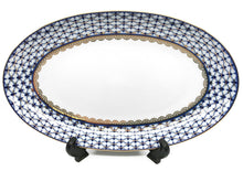 "Oval Serving platter 12"" Lomonosov Porcelain, Russian Cobalt Blue Net, 24K Gold"