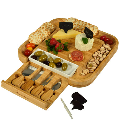 (D) Bamboo Cheese Board, Wooden Board with Tools, Chalk and Bowl