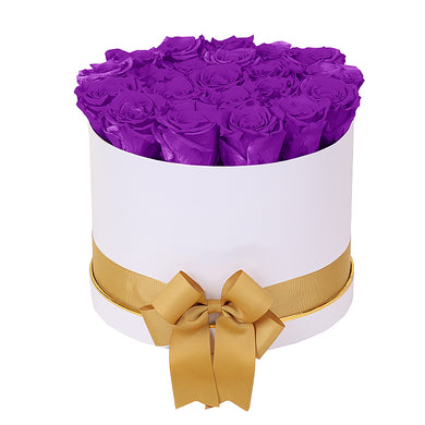 (D) Luxury Long Lasting Roses in a White Box, Preserved Flowers Empire L (Orchid)