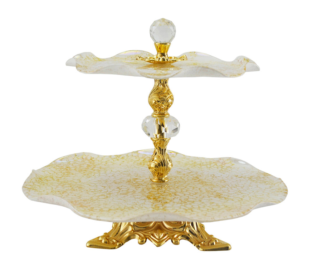 (D) 2-Tiered White and Gold Glass Serving Platter Stand 12 Inches