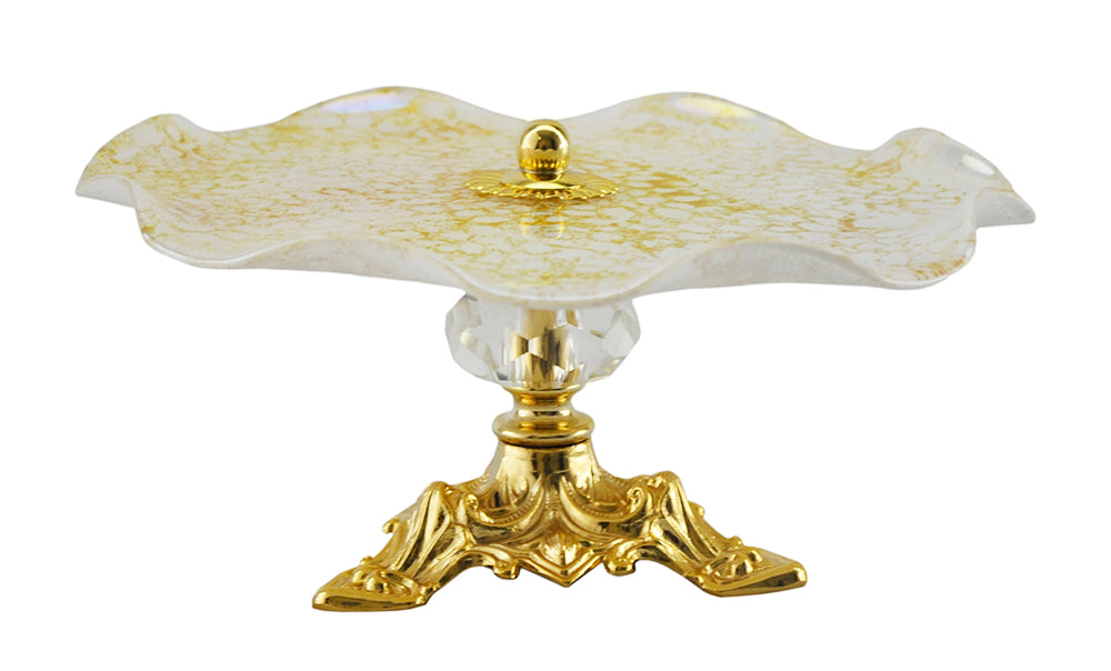 (D) White and Gold Glass Serving Platter Stand 9 Inches