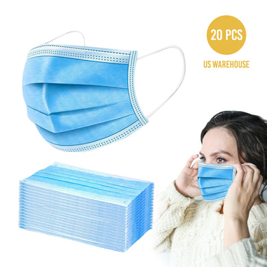 Disposable Face Masks, Facial Virus Protection, Medical Safety Mask - 20 PC