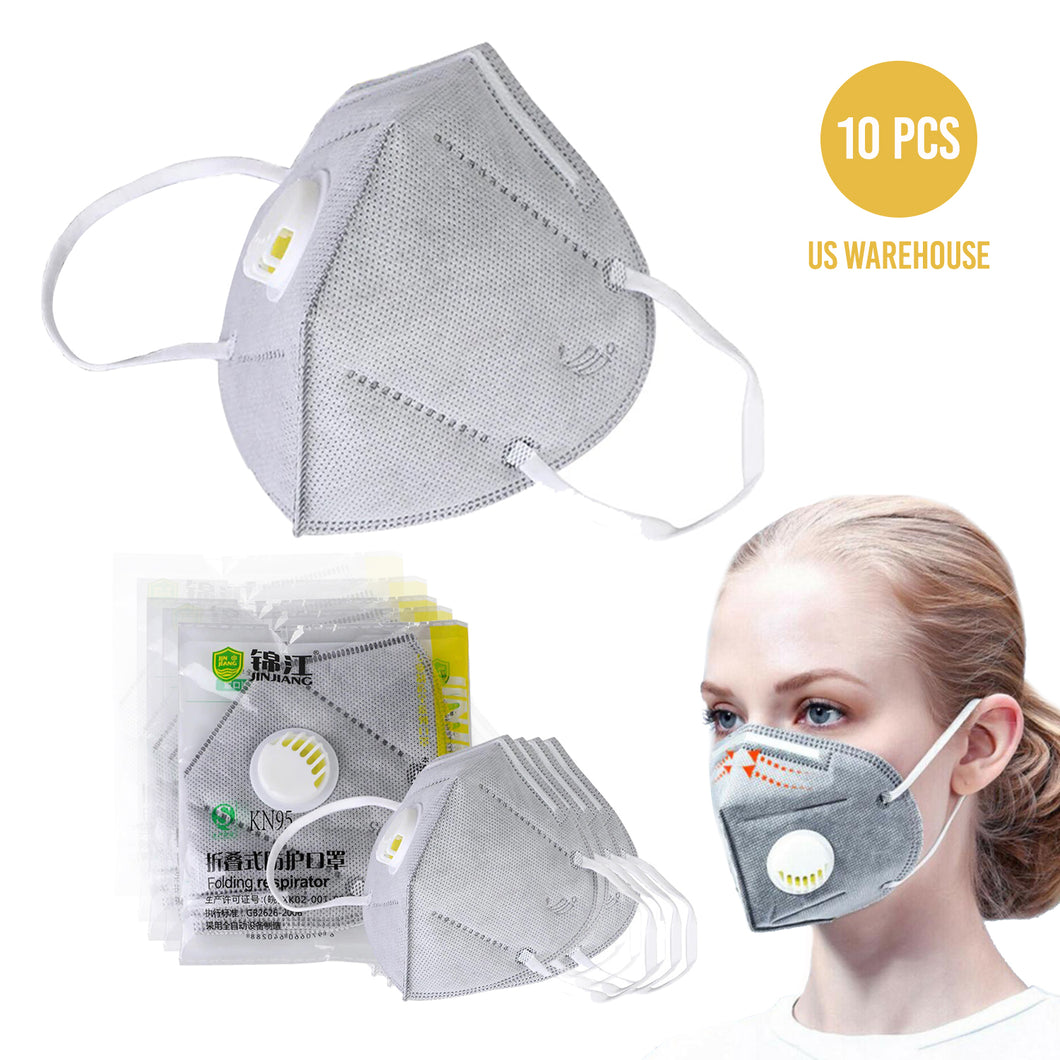 Reusable KN95 Face Masks, Filtered Protection Facial Mask with Valve - 10 PC