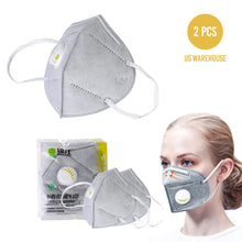 Reusable KN95 Face Masks, Filtered Protection Facial Mask with Valve - 2 PC