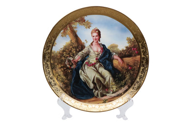 Royalty Porcelain 1-pc Decorative Wall Mount Plate, Lady, Bone China Porcelain
