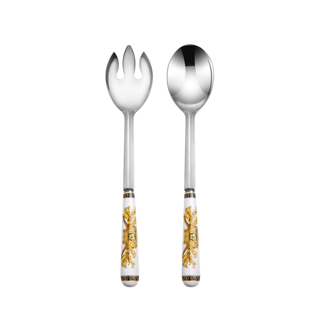 Italian Collection 'Greek Key' 2-Pс White Demi Dessert Flatware Serving Set