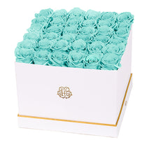 (D) Luxury Long Lasting Roses in a White Box, Preserved Flowers 10'' (Blue)