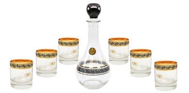 ArtDecor Greek Key, 30 Oz Old-Fashioned 7-pc Whiskey DOF Crystal Decanter Set