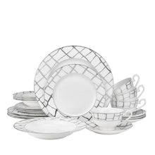 "Royalty Porcelain 5-pc ""Luxe Platinum"" Dinner Set for 1, 24K Gold-Plated"