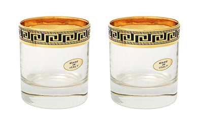 Set of 2 ArtDecor Greek Key, 11 Oz Old-Fashioned Liquor, DOF WhiskeyGlasses
