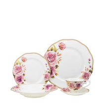 Royalty Porcelain 20-pc Dinner Set for 4, 24K Gold, Bone China (Pink Rose)