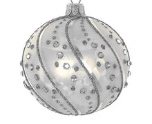 (D) Silverstone Swirl 4pc Round Holiday Ornament Set, Christmas Tree Decoration