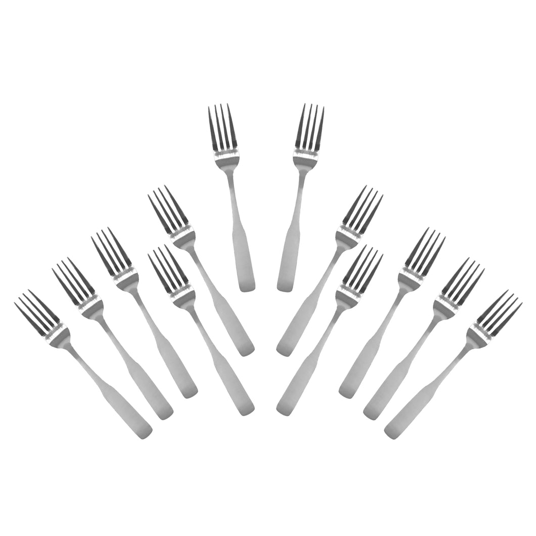 Stainless Steel Dinner Forks, Flatware Set 'Esquire' for (12)