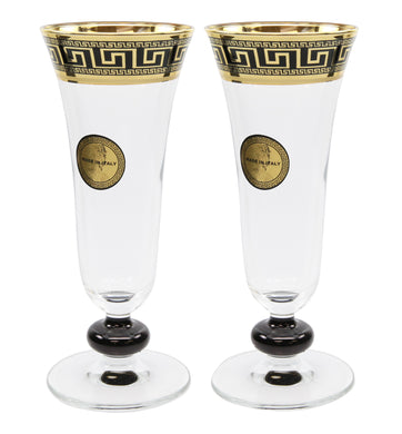 Set of 2 ArtDecor Greek Key, 7 Oz 'Sofia' Champagne Flute Crystal Stem Glasses