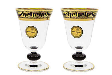 Set of 2 ArtDecor Greek Key, 8 Oz 'Sofia' Champagne Flute Crystal Stem Glasses