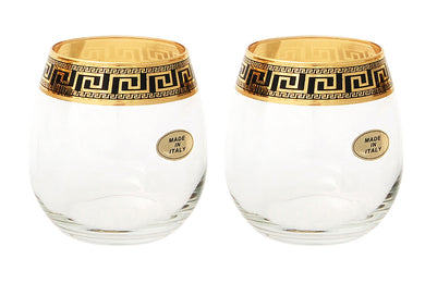 Set of 2 ArtDecor Greek Key, 11 Oz Wine Beverage Stemless Crystal Glasses 24K