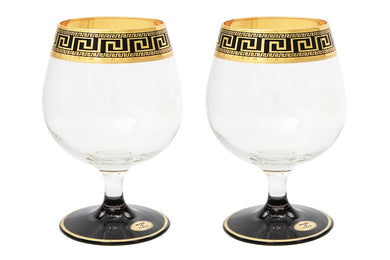 Set of 2 ArtDecor Greek Key, 11 Oz Old-Fashioned Liquor, Cognac, Brandy Glasses