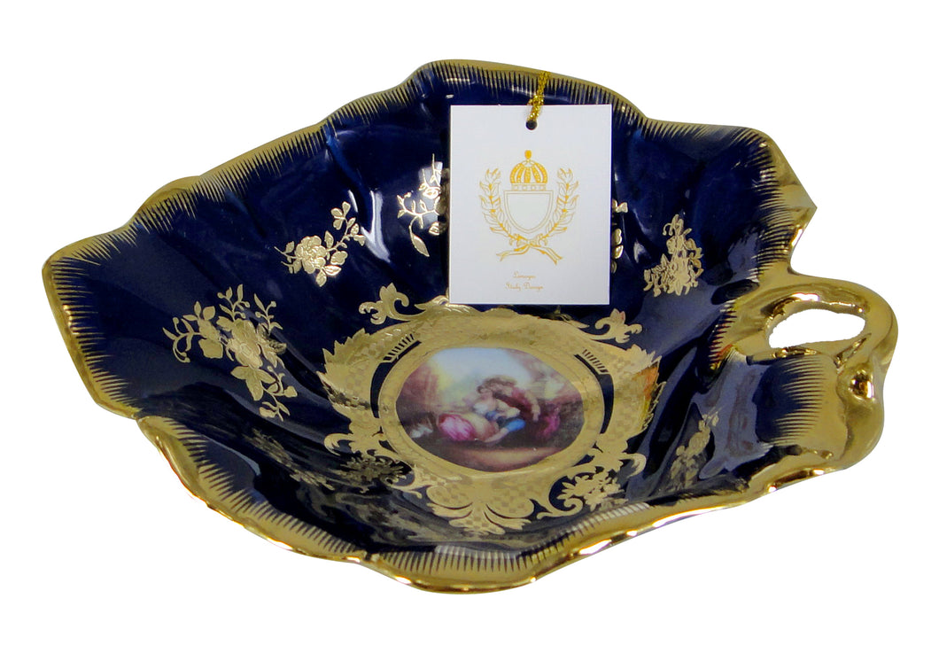 Royalty Porcelain Cobalt Blue Candy Tray 'Second Date' 7 Inch, Fruit Serving