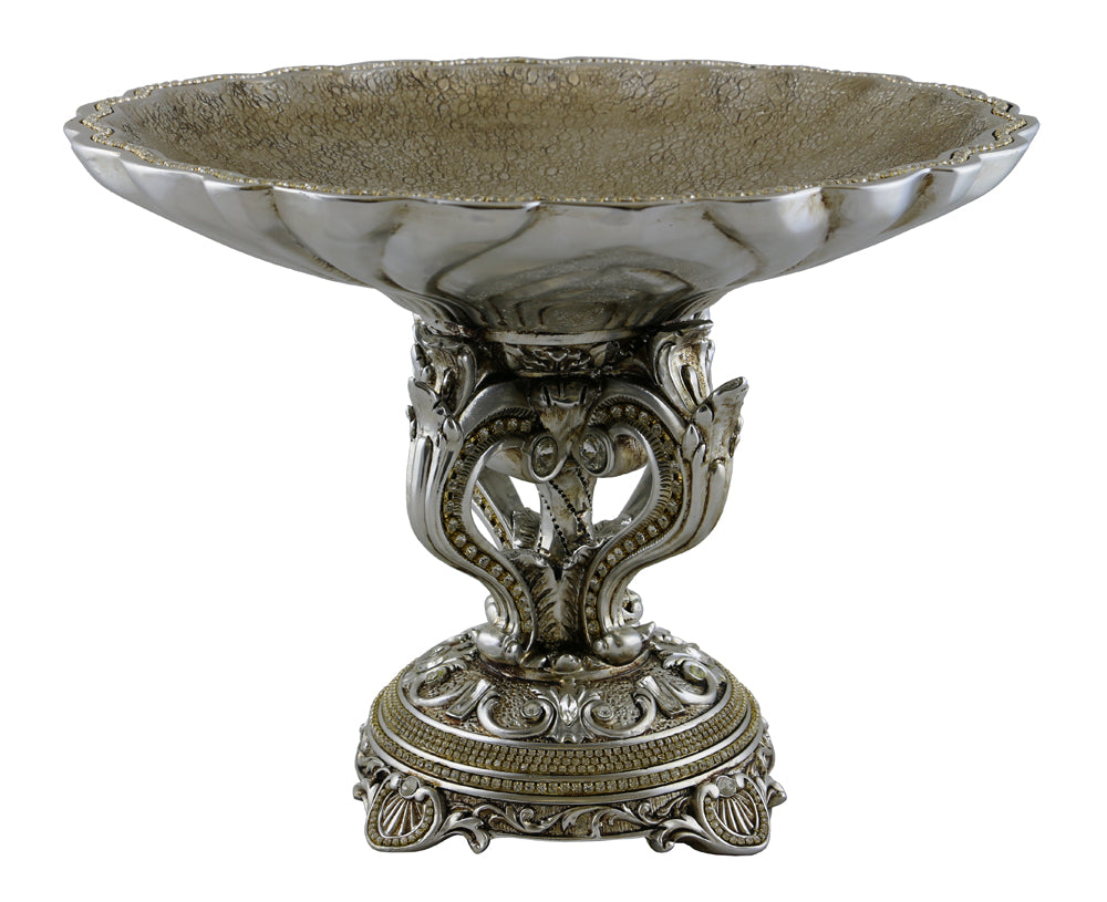 (D) Elegant Silver Serving Platter Stand 11 x 15 Inches, Cake Stand for Fruits