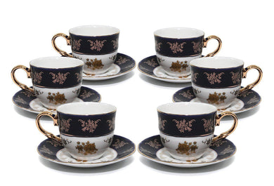 Royalty Porcelain 12pc Cobalt Blue Gold-Plated 24K, Miniature Coffee Set