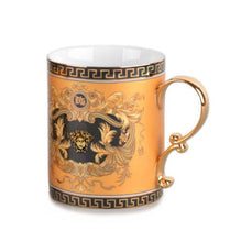 Royalty Porcelain 2-pc Gold Coffee or Tea Cup Mug, Medusa Greek Key, 13 oz
