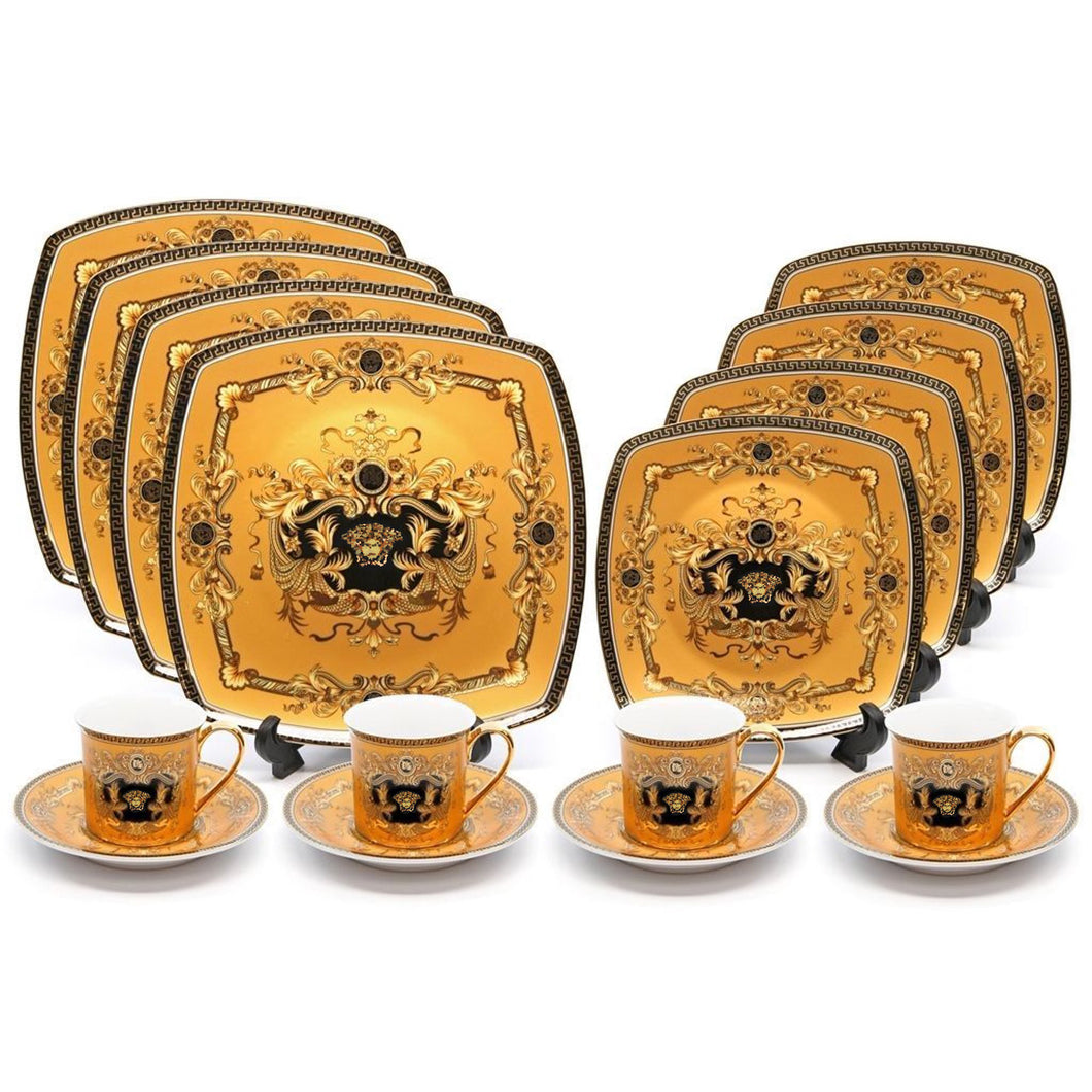 Royalty Porcelain Greek Key 16-pc Dinnerware Set 'Medusa Yellow',  Bone China
