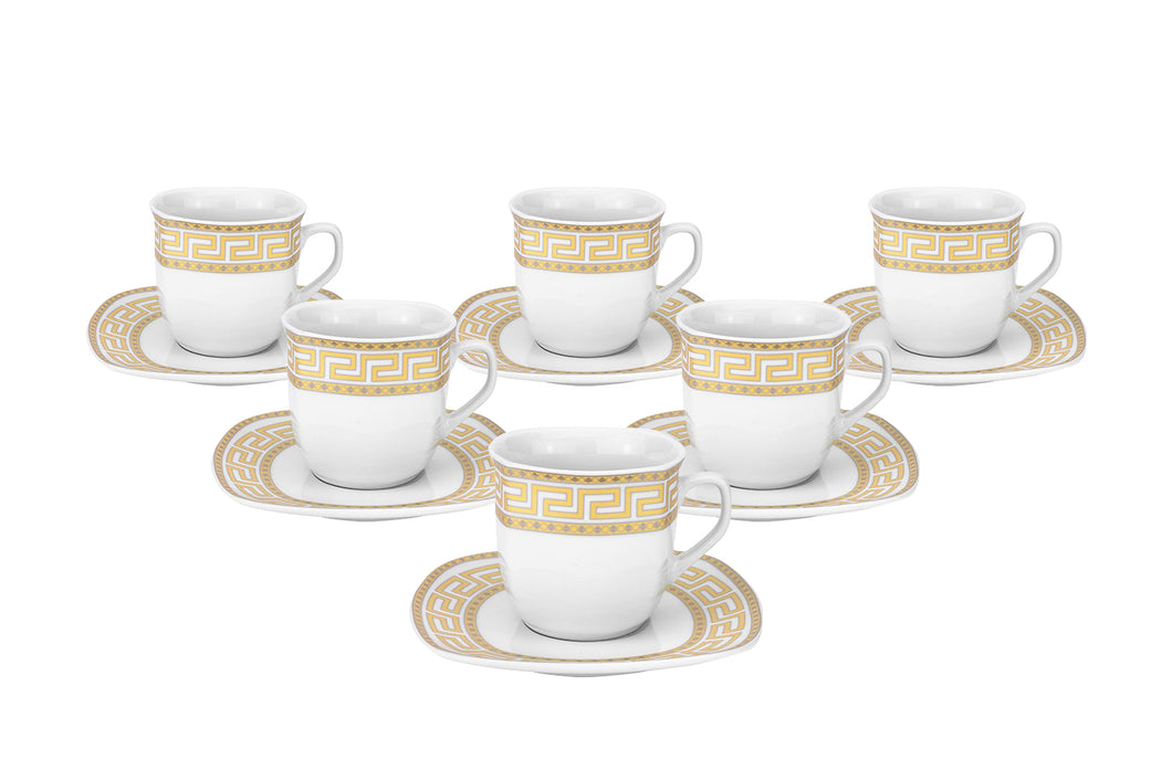 Royalty Porcelain 12-pc Tea or Coffee Cup Set for 6, Gold, Bone China (5530-12G)
