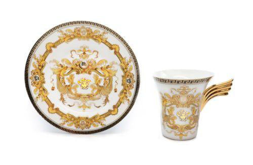 Royalty Porcelain 3-pc White Tea Set, Service for 1, Luxury Greek Key Medusa