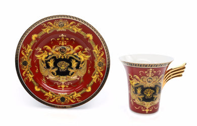 Royalty Porcelain 3-pc Red Tea Set, Service for 1, Medusa Greek Key, 24K Gold