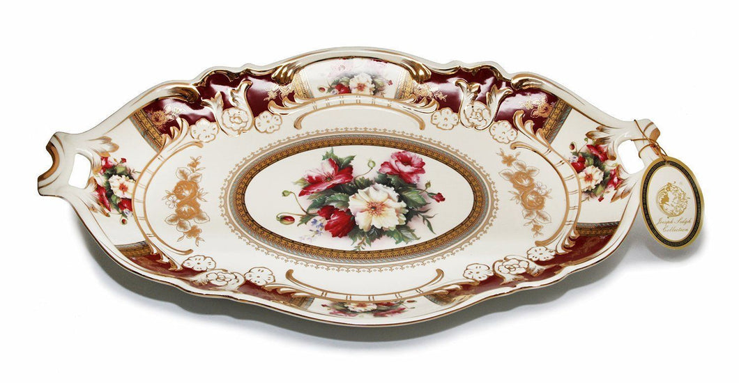 Royalty Porcelain Serving Tray, Vintage Floral Design, 24K Gold Bone China