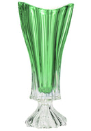 Bohemia Collection Footed Crystal Flower Centerpiece Vase 16 Inch (Green)