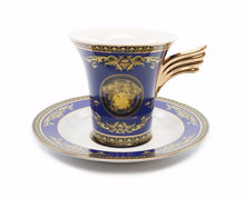 Royalty Porcelain 17-pc Luxury Floral Blue Tea Set for 6, Greek Key Gold Medusa
