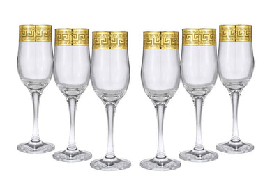 Crystal Gold Rimmed Champagne Flutes 'Medusa', Wine Glasses 6-pc Set Greek Key