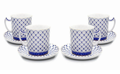 SET of 4 Lomonosov Tea Cups / Mugs, Russian Saint Petersburg Cobalt Blue Net