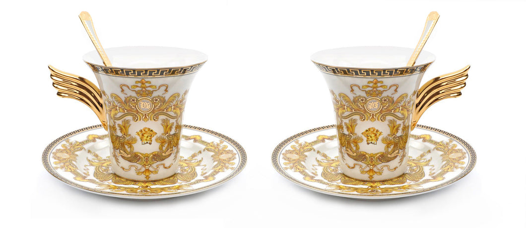 Royalty Porcelain 6-pc White Tea Set, Service for 2, Medusa Greek Key, 24K Gold