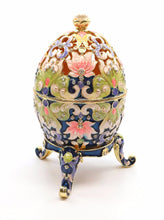 Faberge Box Enameled Large Floral Egg, 24K Gold Figurines w/ Swarovski Crystal