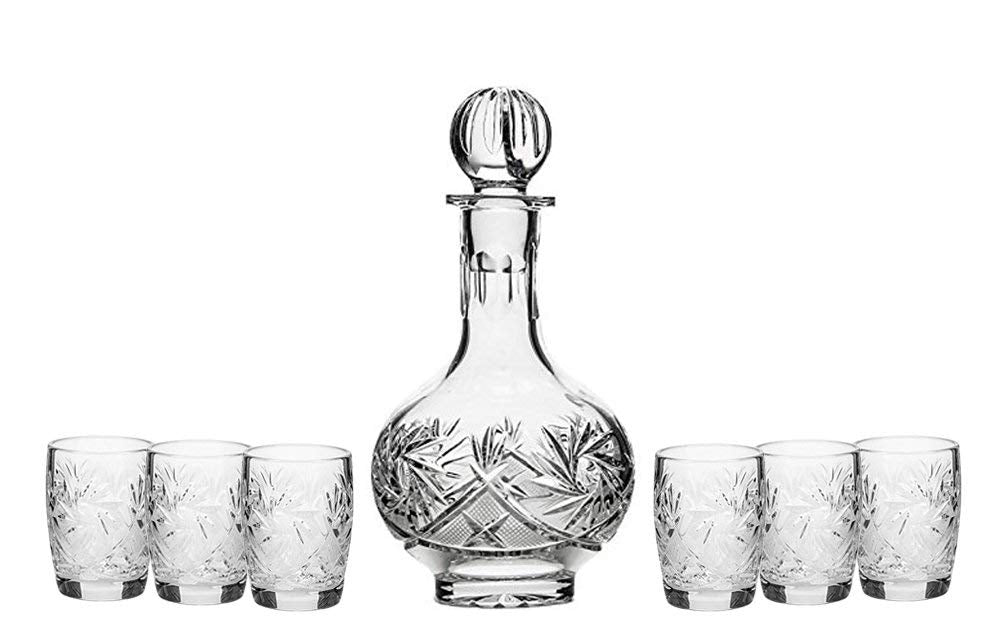 Set of 7 16-Oz Vintage Cut Crystal Liquor Decanter Set with 6 Shot Glasses (5)