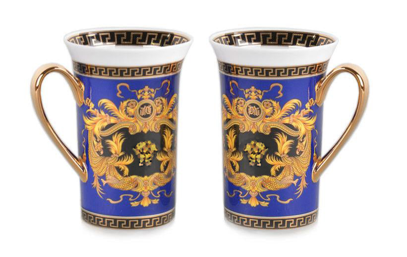 Royalty Porcelain 2-pc Blue Coffee or Tea Cup Mug, Medusa Greek Key, 12 oz