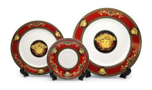Royalty Porcelain Luxury 5-pc RED Dinner Set for 1 person, Medusa Greek Key