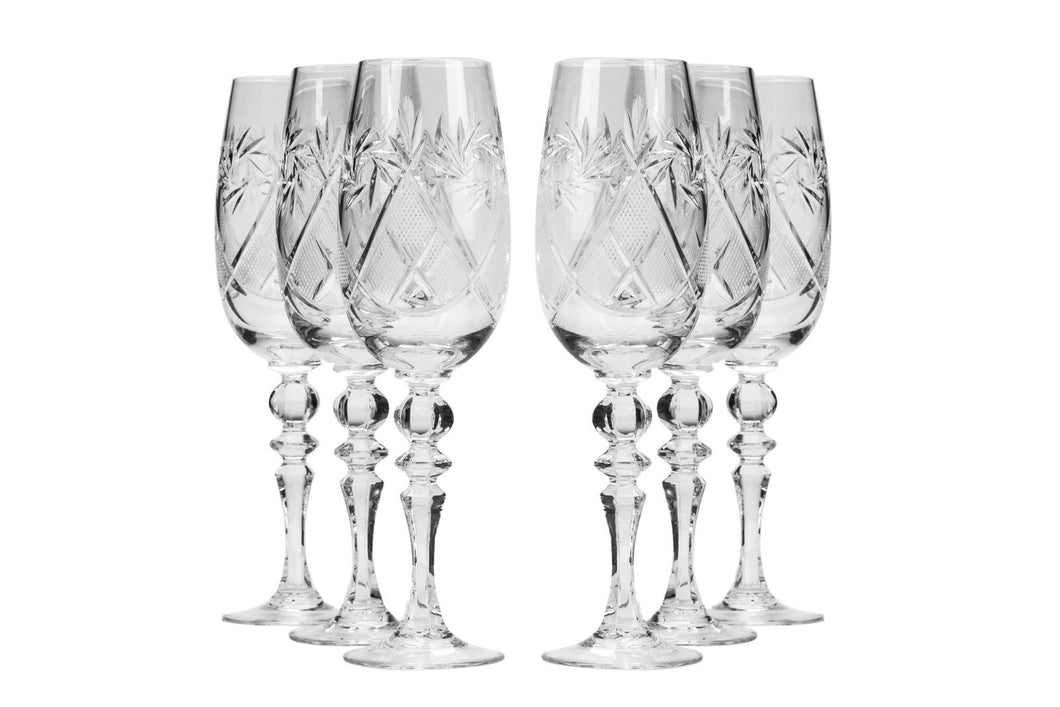 Neman Glassworks, 7-Oz Russian Crystal Champagne Flutes, 6-pc Vintage Set