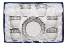 Royalty Porcelain Miniature Cofee Set for 6, Silver-plated, Greek Key Pattern