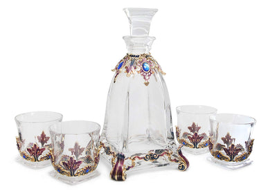 RORO Versace Inspired Crystal Enamel, 5-piece Whisky Decanter Set with Swarovski
